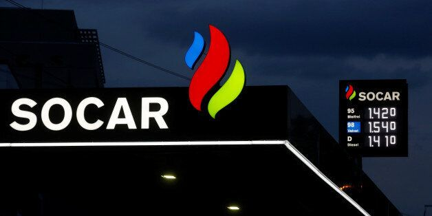 The logo of SOCAR Energy Switzerland is seen on a filling station in Bern, Switzerland May 10, 2016....