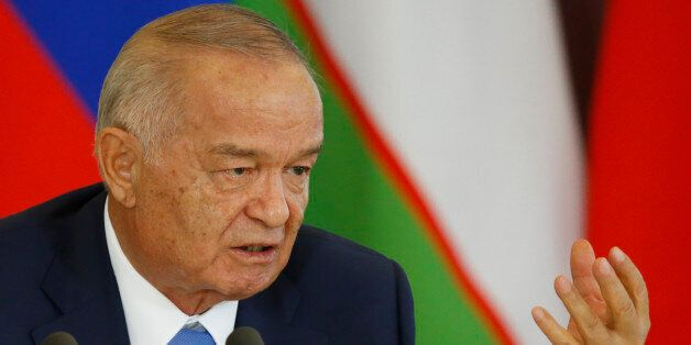 FILE In this Tuesday, April 26, 2016 file pool photo Uzbek President Islam Karimov speaks at a joint...