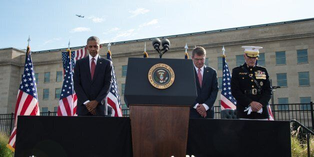 US President Barack Obama (L), Defense Secretary Ashton Carter (2nd R) and Joint Chiefs of Staff Gen....