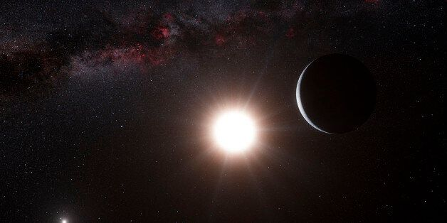 This artist's impression shows the planet orbiting the star Alpha Centauri B, a member of the triple...
