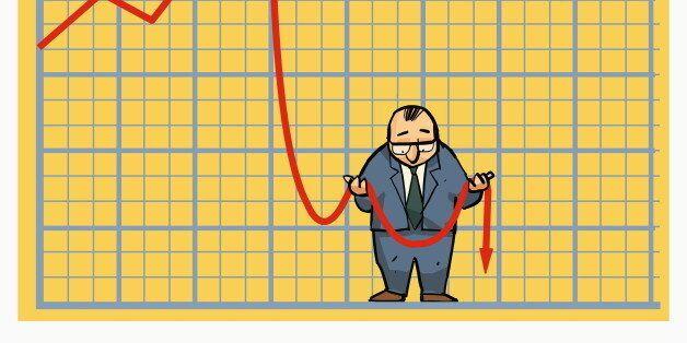 Businessman holding stock arrow in