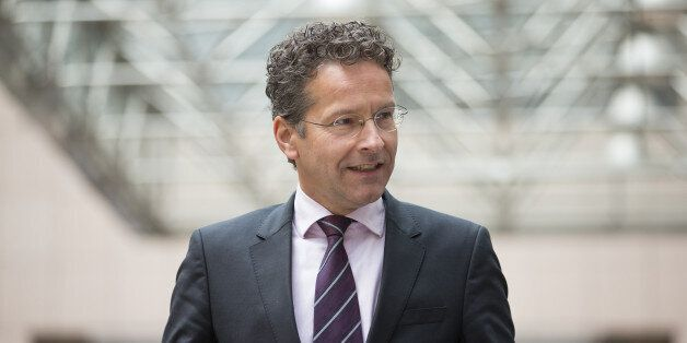 Jeroen Dijsselbloem, Dutch finance minister and head of the group of euro-area finance ministers, arrives...