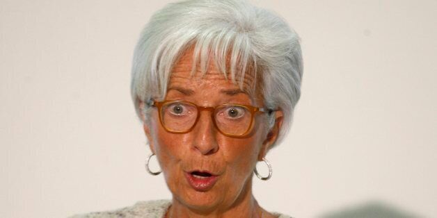 Managing Director of the International Monetary Fund Christine Lagarde speaks during a press conference,...