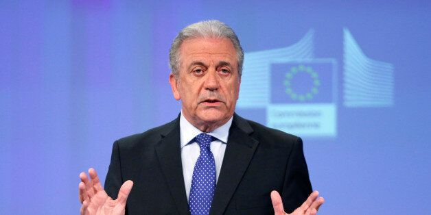 European Commissioner for Migration and Home Affairs Dimitris Avramopoulos addresses a news conference...