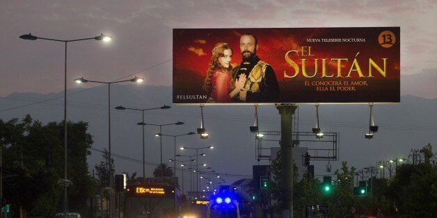 View of a billboard advertising Turkish soap opera 'El Sultan' on December 14, 2014 in Santiago. AFP...