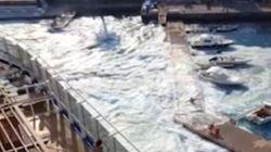«Τσουνάμι» από το κρουαζιερόπλοιο Carnival Vista κάνει συντρίμμια