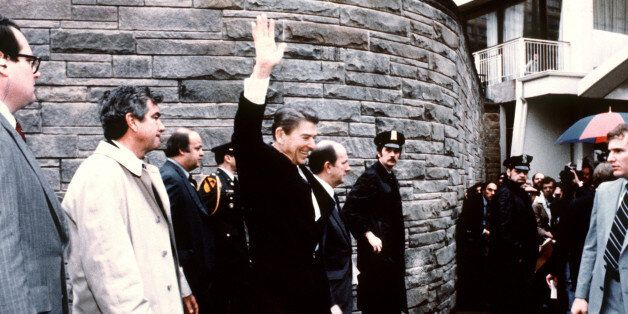 This photo taken by presidential photographer Mike Evens on March 30, 1981 shows President Ronald Reagan...