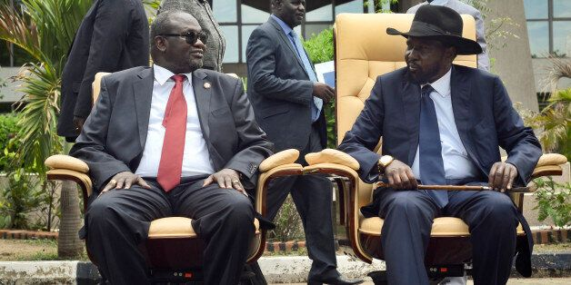 FILE - In this Friday, April 29, 2016 file photo, South Sudan's then First Vice President Riek Machar,...