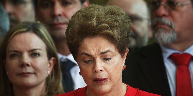 BRASILIA, BRAZIL - AUGUST 31: Impeached President Dilma Rousseff delivers her farewell address in Alvorado...