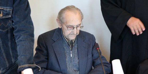 Former SS medic Hubert Zafke, 95, accused of aiding in 3,681 murders in Auschwitz in 1944, attends his...