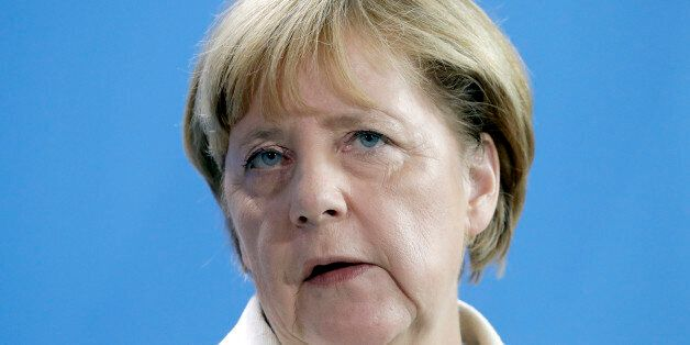 German Chancellor Angela Merkel speaks during a joint news conference as part of a meeting with the President...