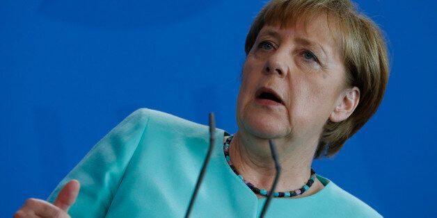 German Chancellor Angela Merkel addresses a news conference following talks with British Prime Minister...