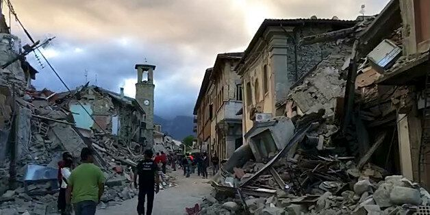 This still image taken from video shows the center of Amatrice, central Italy, where a 6.1 earthquake...