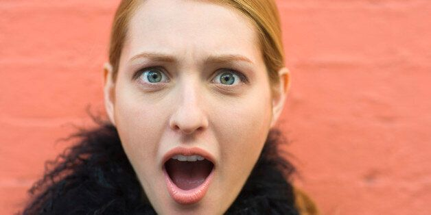 Woman with shocked