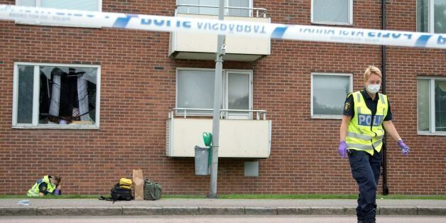 Forensic police investigates on August 22, 2016, in Gothenburg, the area, where an explosion demolished...