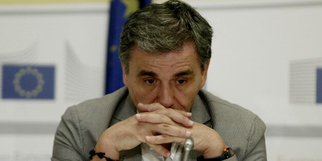 Greek Finance Minister Euclid Tsakalotos during a press conference at the European Commission offices...