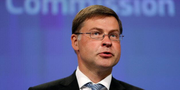 European Commission Vice-President Valdis Dombrovskis addresses a news conference at the EU Commission...