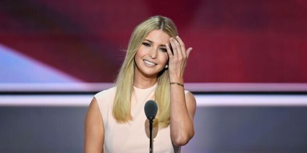 Ivanka Trump, the daughter of Republican presidential candidate Donald Trump, Smiles before delivering...