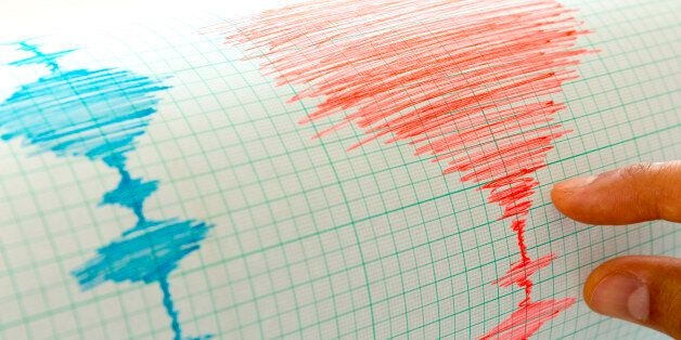 Seismological device for measuring earthquakes. Seismological activity live on the sheet of measuring...