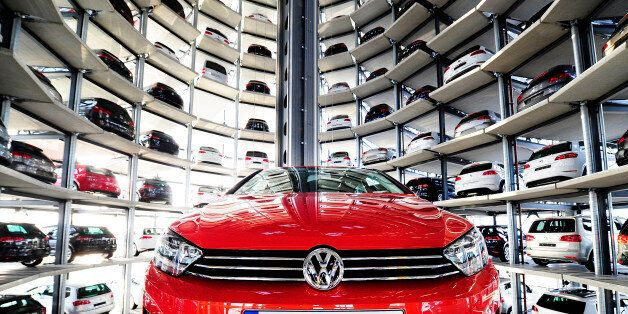 WOLFSBURG, GERMANY - MARCH 10: A brand new Volkswagen Golf 7 car is stored in a tower at the Volkswagen...