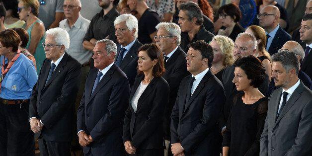 ASCOLI PICENO, ITALY - AUGUST 27: (L-R) Italian President Sergio Mattarella, Italy's upper house of Parliament...