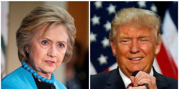 A combination photo shows U.S. Democratic presidential candidate Hillary Clinton (L) and Republican U.S....