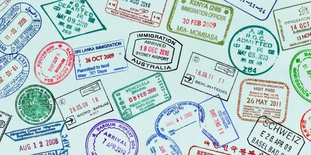 Panoramic of visa stamps on a