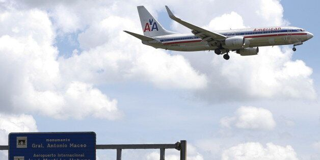 FILE PHOTO: An American Airlines airplane prepares to land at Jose Marti International Airport in Havana,...