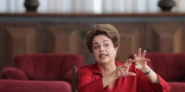 Brazil's suspended President Dilma Rousseff speaks on the process of impeachment during a press conference...