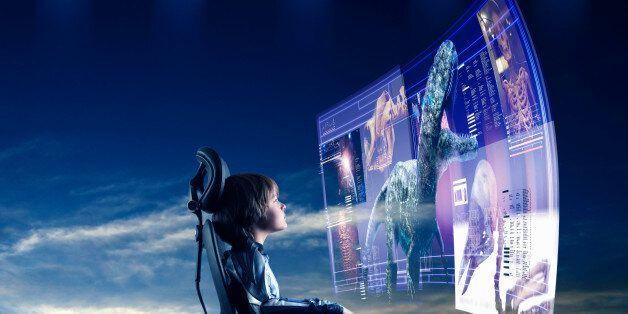 boy learning through 3D hologram