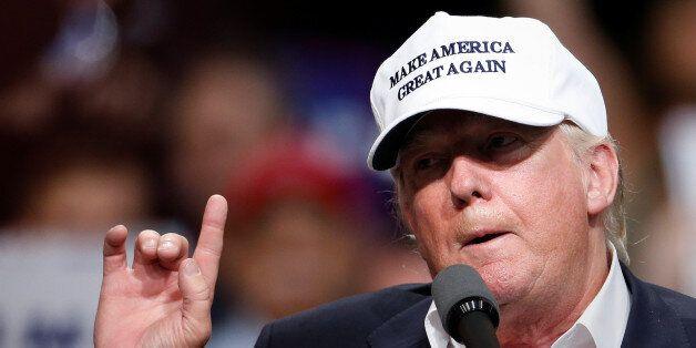 Republican presidential nominee Donald Trump speaks during a campaign event in Dimondale, Michigan, U.S.,...
