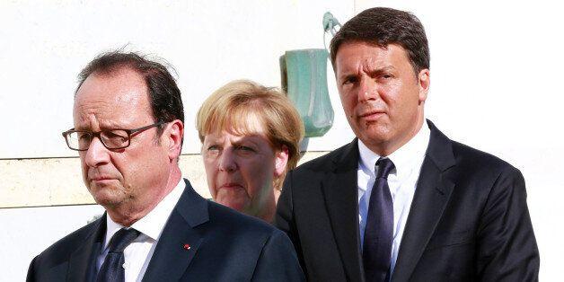 Italian Prime Minister Matteo Renzi, German Chancellor Angela Merkel (C) and French President Francois...