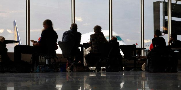 People in airport waiting area, Frankfurt,