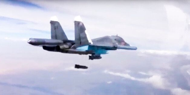 FILE - In this Dec. 9, 2015 file photo made from video footage provided by the Russian Defense Ministry,...