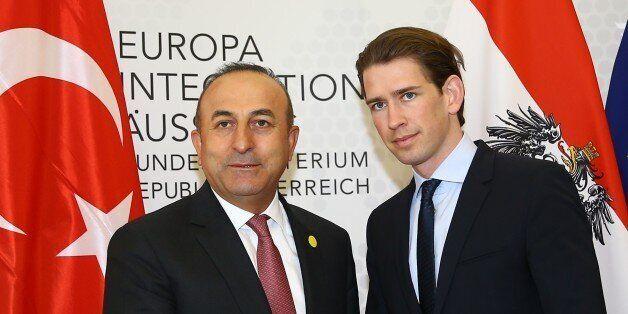 VIENNA, AUSTRIA - MAY 17: Turkish Foreign Minister Mevlut Cavusoglu (L) and Austrian Foreign Minister...