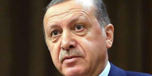 Turkey's President Recep Tayyip Erdogan speeches to the heads of chambers of commerce in Ankara, Turkey,...