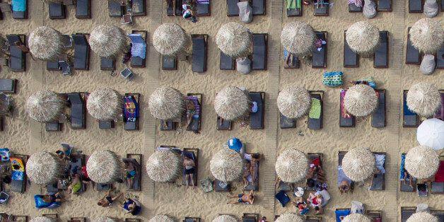 Drone images of Amolofi Beach in Kavala, in Northern Greece on 20 July 2016 with golden clean sand, transparent...