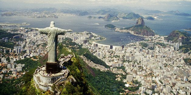 The iconic statue of Christ the Redeemer on Corcovado overlooks Rio de Janeiro in Brazil.