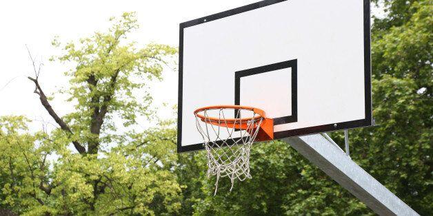 An empty basketball hoop in a London