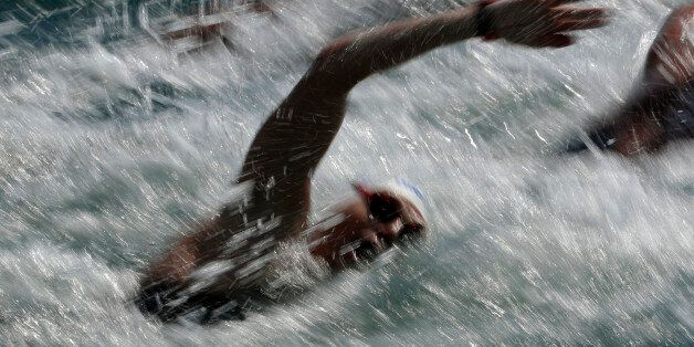 Greece's Spiros Gianniotis competes during the men's marathon swimming competition of the 2016 Summer...