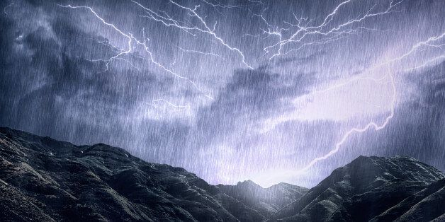 Shot of a dramatic thunderstorm over a