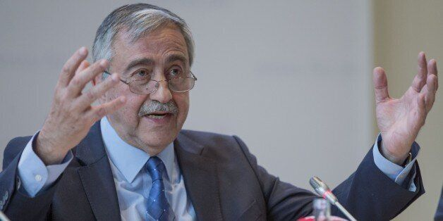 BERLIN, GERMANY - APRIL 12: Turkish Cypriot President Mustafa Akinci attands a round table meeting organized...