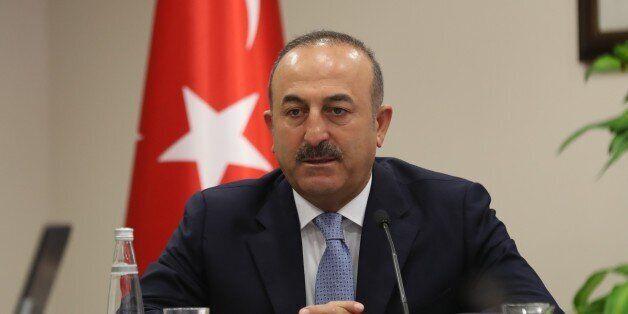 ANKARA, TURKEY - JULY 29 : Turkish Foreign Minister Mevlut Cavusoglu attends a meeting with international...