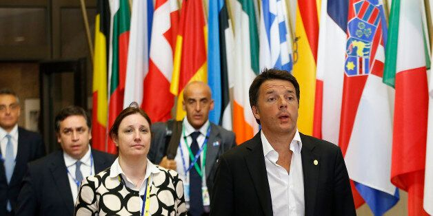 Italian Prime Minister Matteo Renzi and delegation leave the EU Summit in Brussels, Belgium, June 28,...