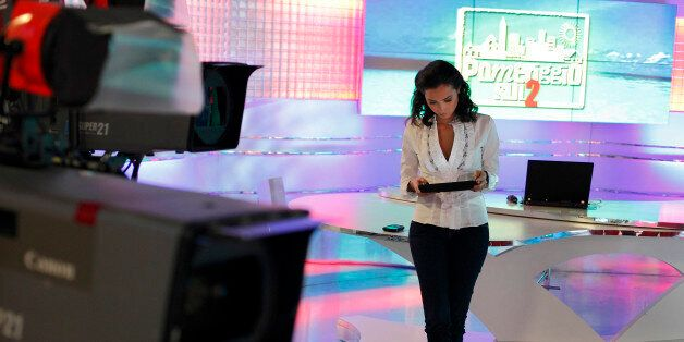 The TV host Caterina Balivo photographed in the studios of the TV show Pomeriggio sul 2 broadcasted from...