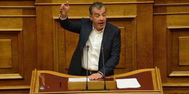 HELLENIC PARLIAMENT, ATHENS, ATTIKI, GREECE - 2016/03/29: Stavros Theodorakis, leader of Potami Party...