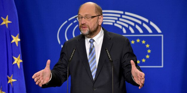 European Parliament President Martin Schulz gives a statement after the conference of Presidents at the...