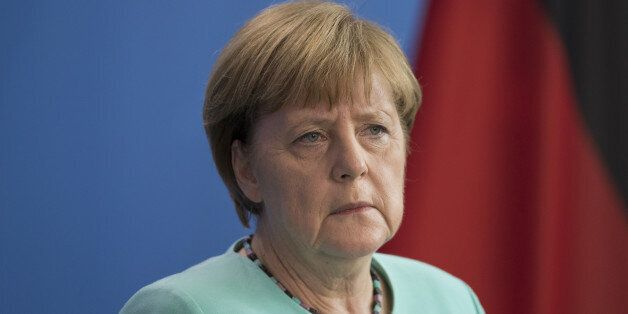 Angela Merkel, Germany's Chancellor, speaks during a news conference with Theresa May, U.K. prime minister,...