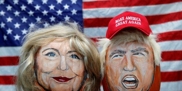 The images of U.S. Democratic presidential candidate Hillary Clinton (L) and Republican Presidential...