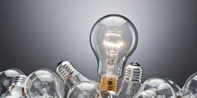Illuminated light bulb in